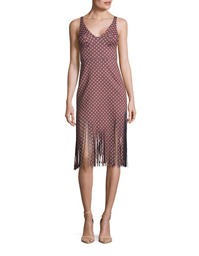 Clover Canyon Printed Neoprene Fringe Dress-RED-Small