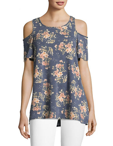 Design Lab Lord & Taylor Floral-Printed Cold-Shoulder Top-BLUE/PINK-Small
