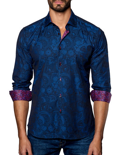 Jared Lang Woven Floral-Printed Shirt-BLUE-XX-Large