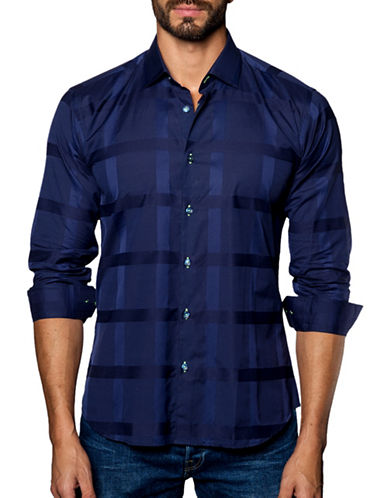 Jared Lang Windowpane Cotton Sport Shirt-BLUE-X-Large