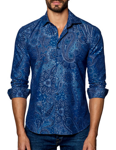 Jared Lang Paisley Printed Sport Shirt-BLUE-XX-Large