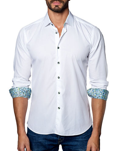 Jared Lang Textured Cotton Shirt-WHITE-Large