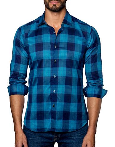 Jared Lang Windowpane Striped Shirt-BLUE-X-Large