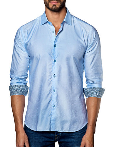 Jared Lang Alphabet Printed Cotton Shirt-BLUE-XX-Large