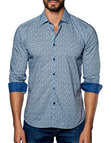 Jared Lang Printed Cotton Shirt-BLUE-Medium