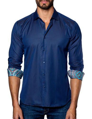 Jared Lang Textured Cotton Shirt-BLUE-X-Large