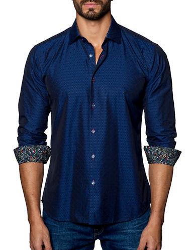 Jared Lang Jacquard Cotton Shirt-BLUE-Large