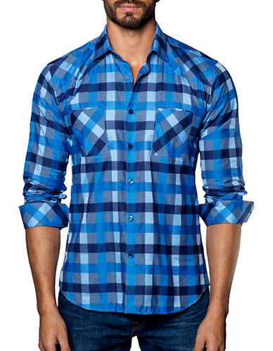 Jared Lang Checked Cotton Sport Shirt-ASSORTED-XX-Large