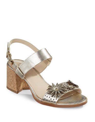 Imnyc Isaac Mizrahi Floral Applique Sandals-GOLD-9.5