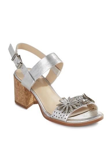 Imnyc Isaac Mizrahi Floral Applique Sandals-SILVER-7.5