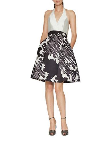Halston Heritage Halter Neck Colourblock Dress-BLACK-10