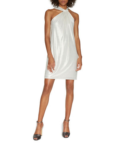 Halston Heritage Knot Neck Metallic Jersey Dress-GOLD-X-