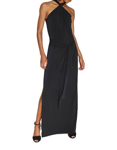 Halston Heritage Knot Neck Jersey Gown with Sash-BLACK-Small