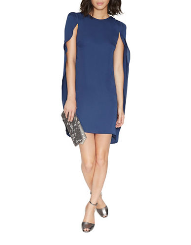 Halston Heritage Cape Sleeve Round Neck Dress-NAVY-10