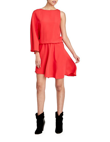 Halston Heritage Asymmetric Silk-Blend Flowy Dress-RED-Large