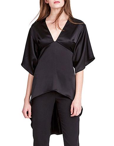 Halston Heritage Satin Kimono Top-BLACK-Medium