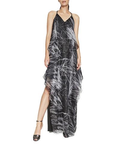 Halston Heritage Flowy Cami Silk-Blend Gown-BLACK-Medium