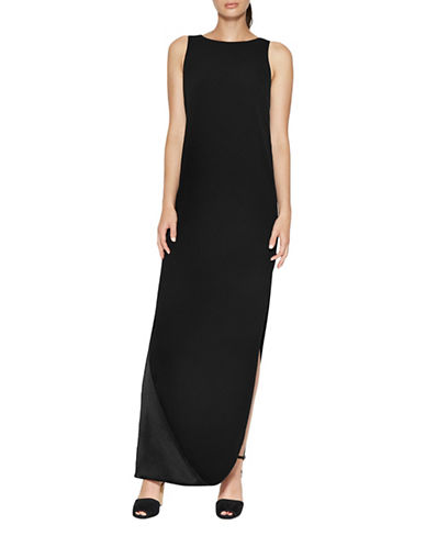 Halston Heritage Satin Cami Gown with Cape Back-BLACK-4