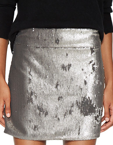 Halston Heritage Mini Sequined Skirt-SILVER-2