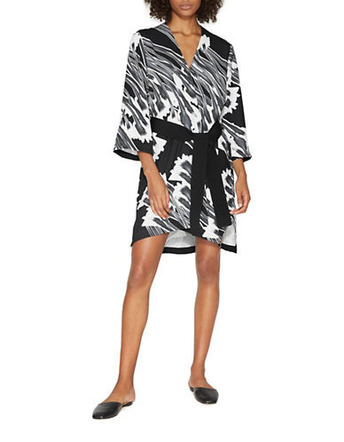 Halston Heritage Printed Kimono Dress with Sash-BLACK-X-