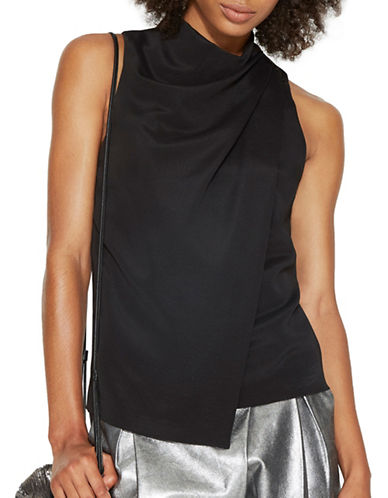 Halston Heritage Mock Neck Drape Front Top-BLACK-Medium 88867182_BLACK_Medium