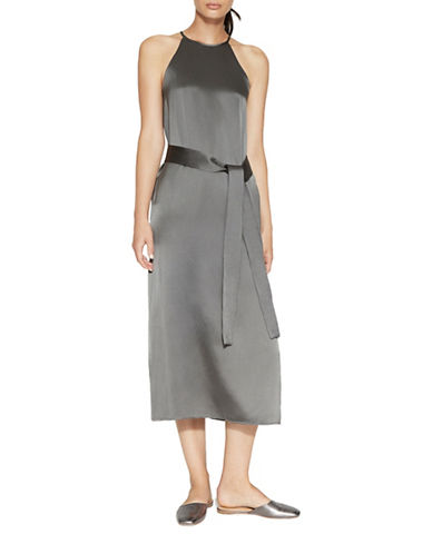 Halston Heritage Racerback Satin Slip Midi Dress-GREY-Small