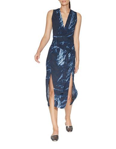 Halston Heritage V-Neck Printed Tunic Dress-BLUE-X-Small