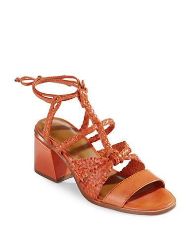 H Halston Strappy Block Heel Sandals-ORANGE-8