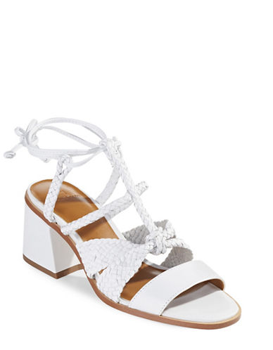 H Halston Strappy Block Heel Sandals-WHITE-7.5