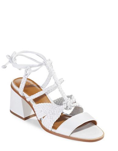 H Halston Strappy Block Heel Sandals-WHITE-9
