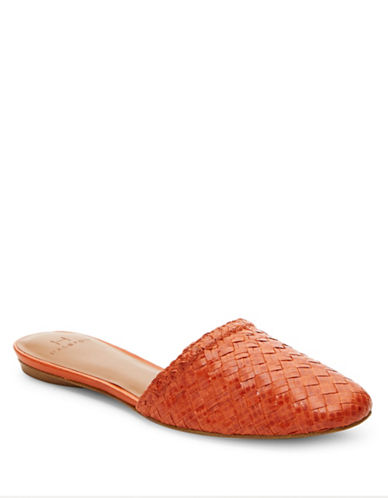 H Halston Gwen Leather Woven Slipper Flats-CORAL-7