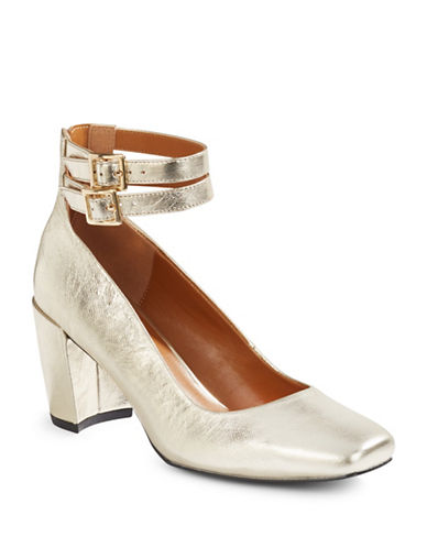 H Halston Regina Metallic Leather Strappy Pumps-GOLD-6.5