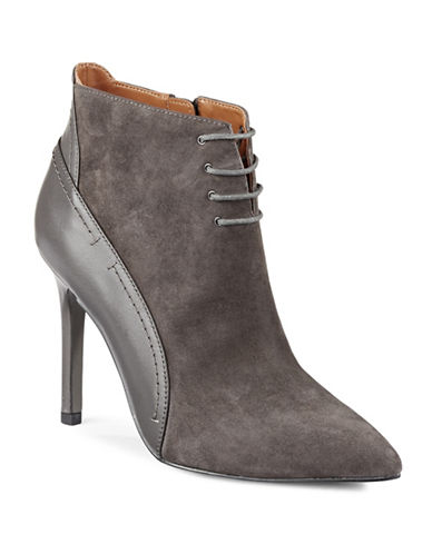 H Halston Irene Pointy Lace-Up Booties-COBBLESTONE-10