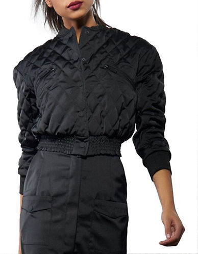 Kendall + Kylie Quilted Bomber Jacket-BLACK-Small 88664832_BLACK_Small