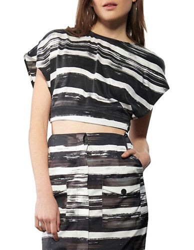 Kendall + Kylie Open-Back Silk Crop Top-GREY MULTI-Medium
