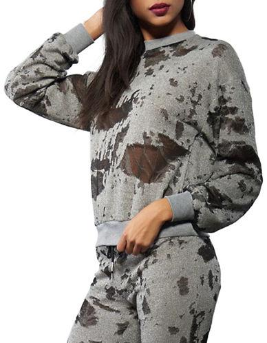 Kendall + Kylie Long Sleeve Terry Sweatshirt-GREY-Large 88677086_GREY_Large
