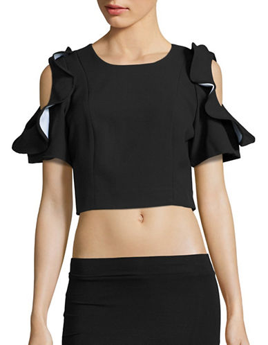Kendall + Kylie Flutter Sleeve Top-BLACK-Medium