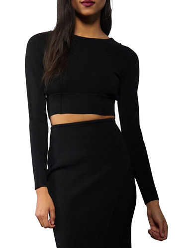 Kendall + Kylie Solid Long Sleeve Cropped Top-BLACK-Large 88677134_BLACK_Large