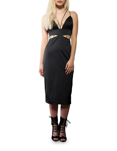 Kendall + Kylie Cut-Out Slip Dress-BLACK-Medium