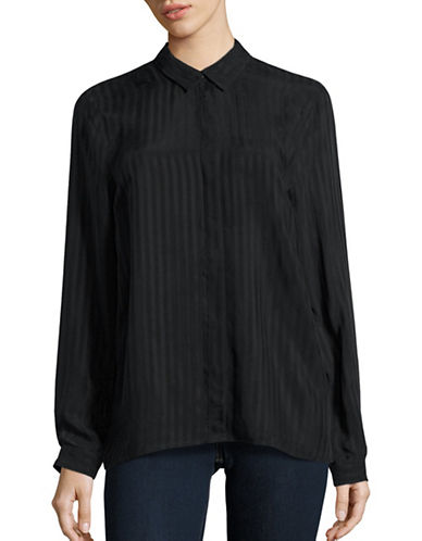 Kendall + Kylie Stripe Cut-Out Shirt-BLACK-Small