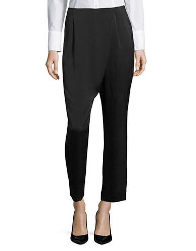 Kendall + Kylie Silk Draped Crop Pants-BLACK-Medium 88874757_BLACK_Medium
