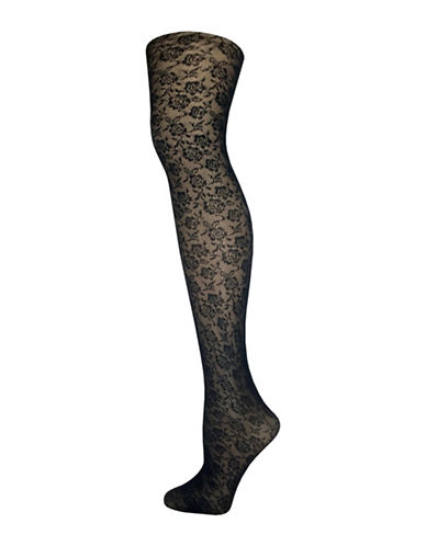 Zac Posen All Over Floral Tights-BLACK-Medium