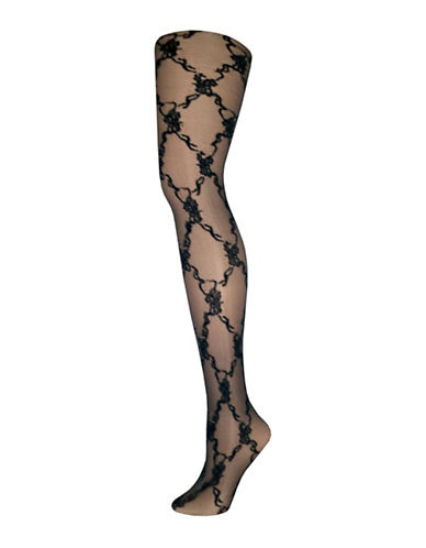 Zac Posen Large Floral Diamond Tights-BLACK-Medium