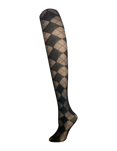 Zac Posen Argyle Tights-BLACK-Medium