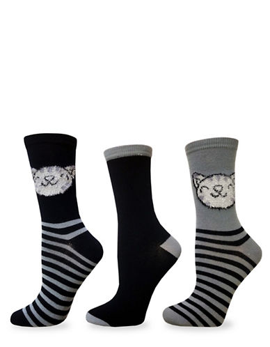 Envy Three-Pack Cat Critter Crew Socks Set-MULTI-One Size