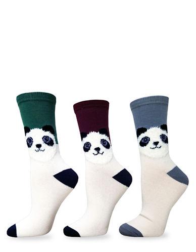 Envy Three-Pack Fuzzy Panda Critter Crew Socks Set-MULTI-One Size