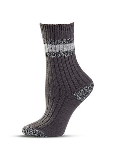 Zac Posen Womens Knitted Crew Socks-GREY-One Size
