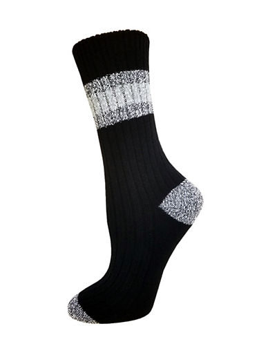 Zac Posen Womens Knitted Crew Socks-BLACK-One Size