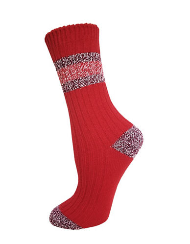 Zac Posen Womens Knitted Crew Socks-RED-One Size