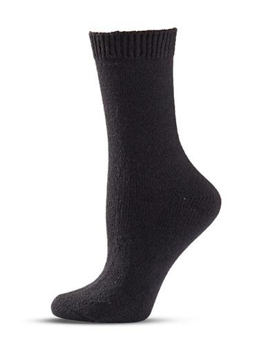 Zac Posen Womens Knitted Crew Socks-BLACK-One Size